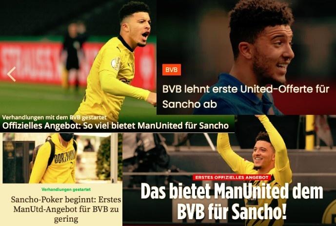 德甲今日头版:曼联6950万欧报价桑乔遭拒 萨内成为备战期的输家