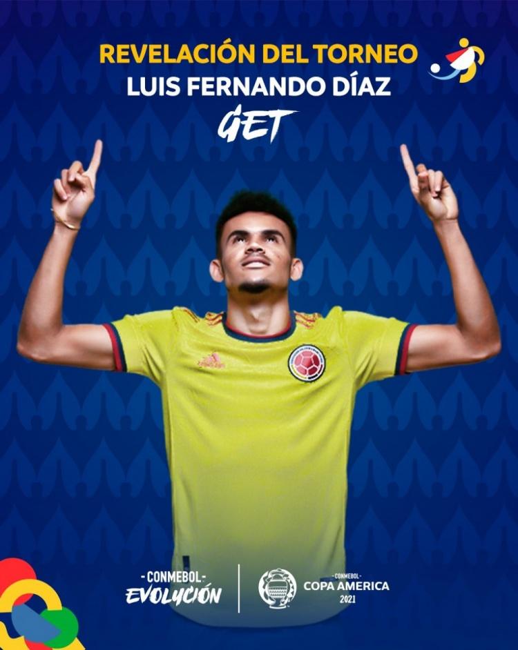 官方:哥伦比亚边锋迪亚斯当选美洲杯最佳新人
