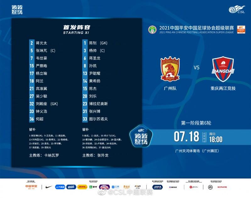 广州队vs重庆两江竞技首发:阿兰、韦世豪出战,图尔苏诺夫先发